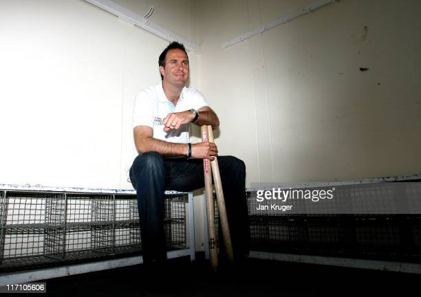 Michael Vaughan Club Captain of Natwest Cricket Club poses during the NatWest Cricket Club Media Launch at Streatham Malborough Cricket Club on June...