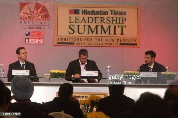 Michael Vaughan, former captain of England cricket team with Gaurav Kalra, sports editor of CNN-IBN and Rahul Dravid, Indian cricketer, at the...