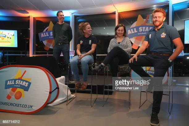 Michael Vaughan hosts a QA with Lauren Winfield Jonny Bairstow and mum blogger during the ECB All Stars Cricket Event at the ArcelorMittal Orbit at...