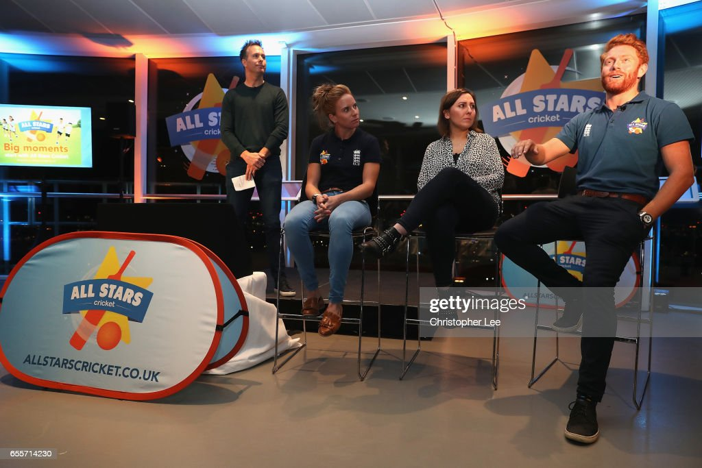Michael Vaughan hosts a Q&A with Lauren Winfield, Jonny Bairstow and mum blogger during the ECB All Stars Cricket Event at the ArcelorMittal Orbit at Queen Elizabeth Olympic Park on March 20, 2017 in London, England.