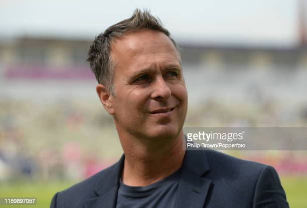 Michael Vaughan looks on after Australia won the first Specsavers Test Match between England and Australia at Edgbaston on August 5, 2019 in...