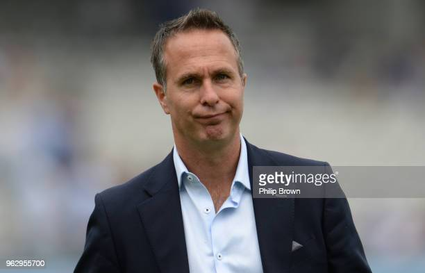 Michael Vaughan looks on after England lost the 1st Natwest Test match between England and Pakistan at Lord's cricket ground on May 27, 2018 in...