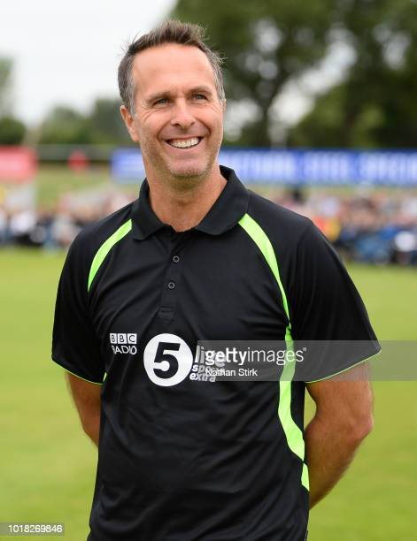 Michael Vaughan looks on during the Radio 5 Live Cricket Match between TMS and Tailenders at Derby County Cricket Ground on August 17, 2018 in Derby,...