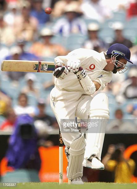 Michael Vaughan of England avoids a bouncer during the fourth day of the fourth Ashes Test between Australia and England at the Melbourne Cricket...