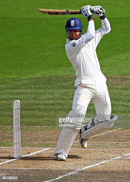 Michael Vaughan of England bats during day two of the First Test match between New Zealand and England at Seddon Park on March 6 2008 in Hamilton New...