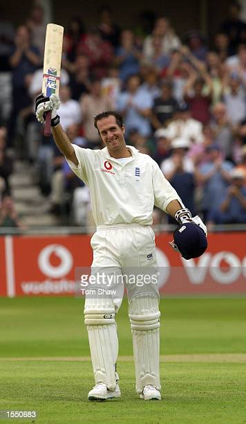 Michael Vaughan of England celebrates getting his century during the third day of the NPower Second Test match between England and India on August 10...