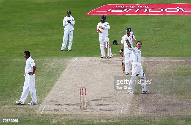 Michael Vaughan of England celebrates his century during day four of the Second Test match between England and India at Trent Bridge on July 30, 2007...