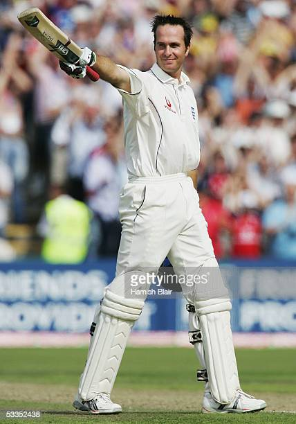 Michael Vaughan of England celebrates his century during day one of the Third npower Ashes Test between England and Australia played at Old Trafford...