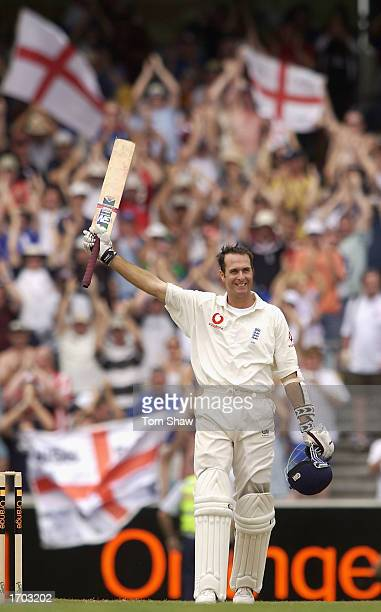 Michael Vaughan of England celebrates his century during the fourth day of the fourth Ashes Test between Australia and England at the Melbourne...