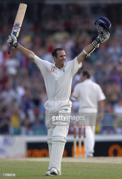 Michael Vaughan of England celebrates reaching his century on the third day of the fifth Ashes Test between Australia and England at the SCG...