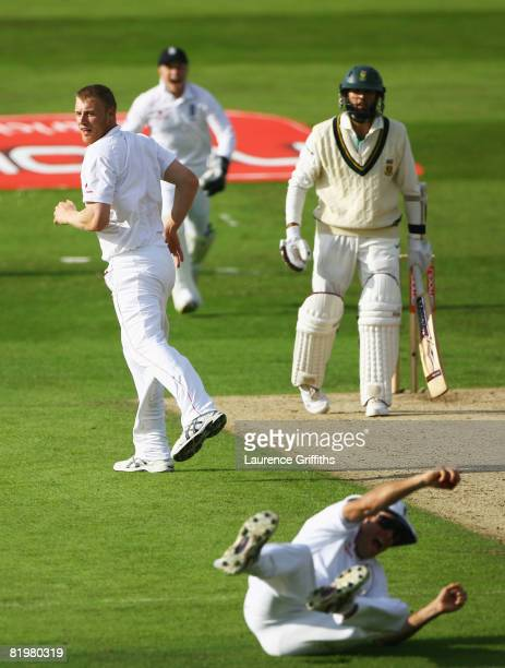Michael Vaughan of England celebrates the catch to dismiss Hashim Amla of South Africa watched by Andrew Flintoff of England only for it to be given...