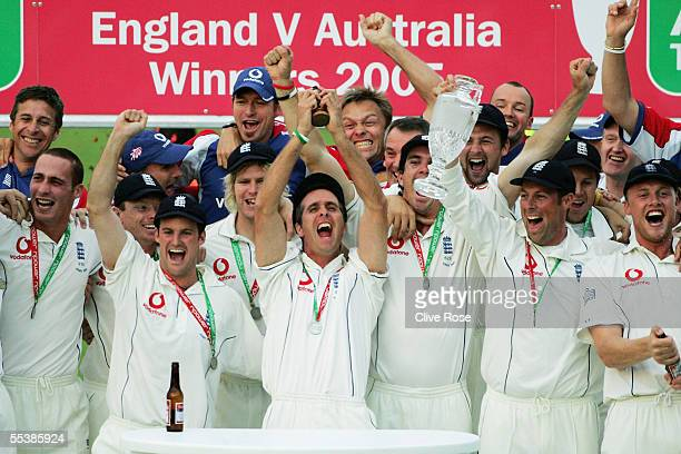 Michael Vaughan of England celebrates with the ashes after day five of the fifth npower Ashes Test match between England and Australia at the Brit...