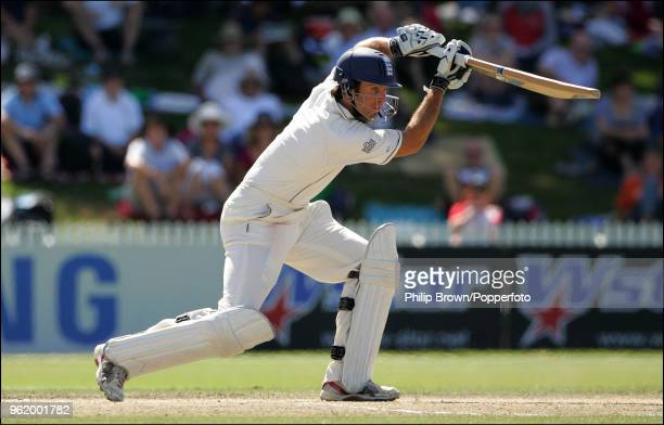 Michael Vaughan of England drives during the 1st Test match between New Zealand and England at Seddon Park Hamilton New Zealand 9th March 2008 New...