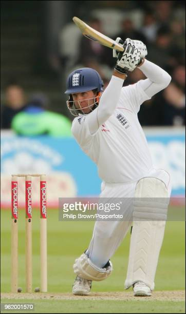 Michael Vaughan of England hits out during his innings of 106 runs in the 1st Test match between England and New Zealand at Lord's Cricket Ground...