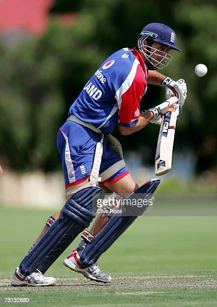 Michael Vaughan of England in action during the England nets session at Fletcher Park on January 28 2006 in Perth Australia