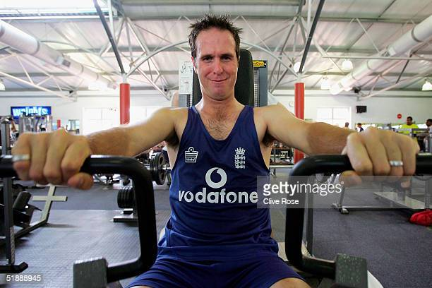Michael Vaughan of England in the gym during a training session ahead of the second Test Match between South Africa and England in Umhlanga on...