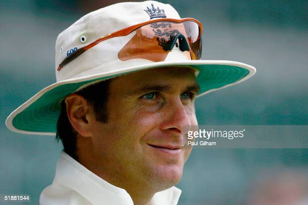 Michael Vaughan of England is all smiles as he looks on during day four of the first Test Match between South Africa and England at St. Georges Park...
