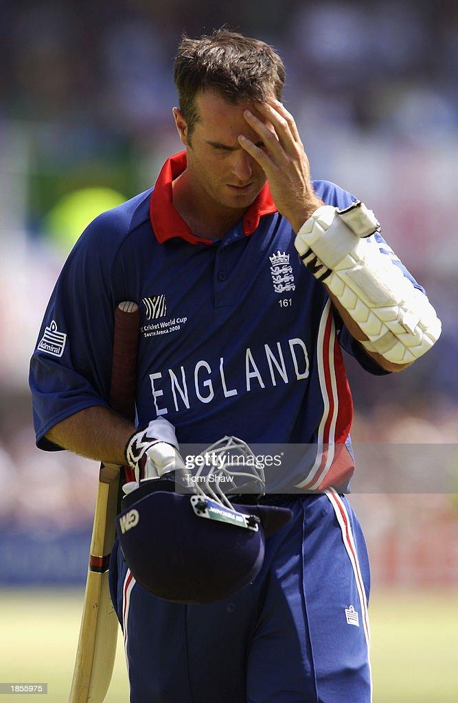 Michael Vaughan of England looks dejected : ニュース写真