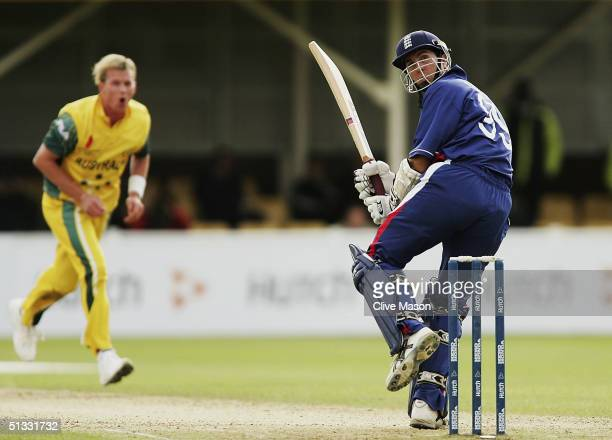 Michael Vaughan of England scores off the bowling of Brett Lee of Australia during the ICC Champions Trophy semi final match between England and...