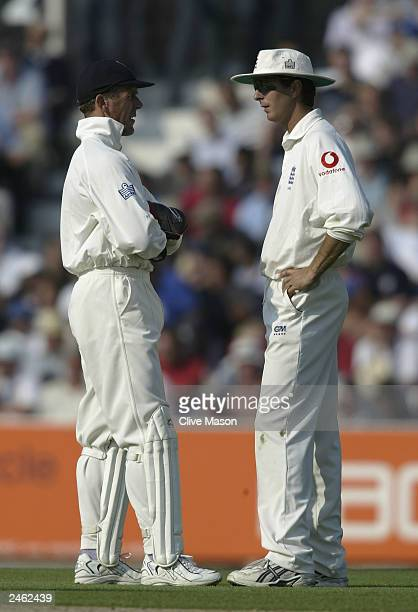 Michael Vaughan of England talks to Alec Stewart of England during the first day of the fifth npower test match between England and South Africa at...