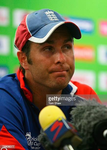 Michael Vaughan of England talks to the media after the ICC Cricket World Cup Super Eights match between South Africa and England at the Kensington...
