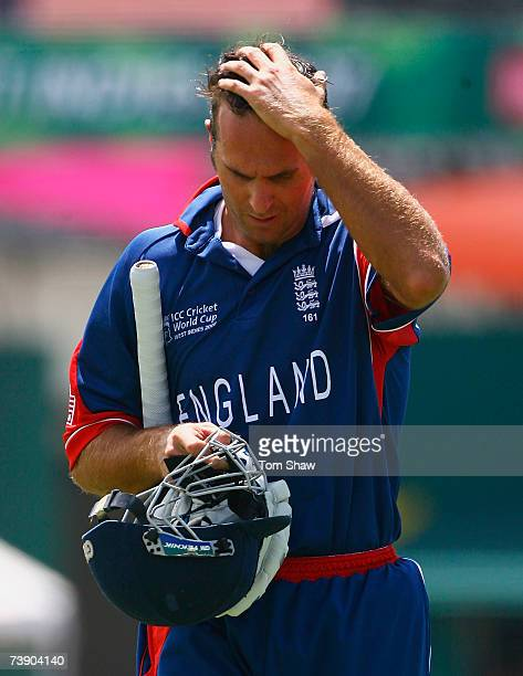 Michael Vaughan of England walks back after being dismissed by Andre Nel of South Africa during the ICC Cricket World Cup Super Eights match between...