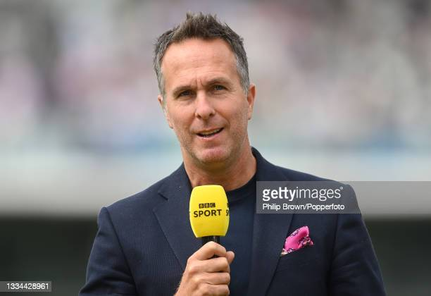 Michael Vaughan of Test Match Special pictured before the fifth day of the 2nd LV= Test Match between England and India at Lord's Cricket Ground on...