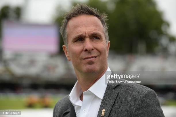 Michael Vaughan of Test Match Special waits for the coin toss before the second Specsavers test match between England and Australia at Lord's on...