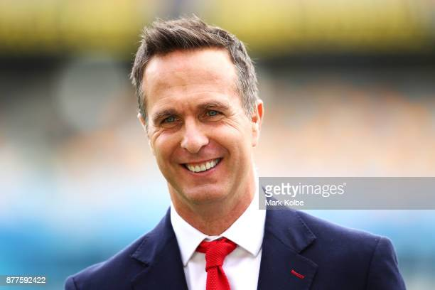 Michael Vaughan of the BBC commentary team laughs as he waits to speak on air before play on day one of the First Test Match of the 2017/18 Ashes...