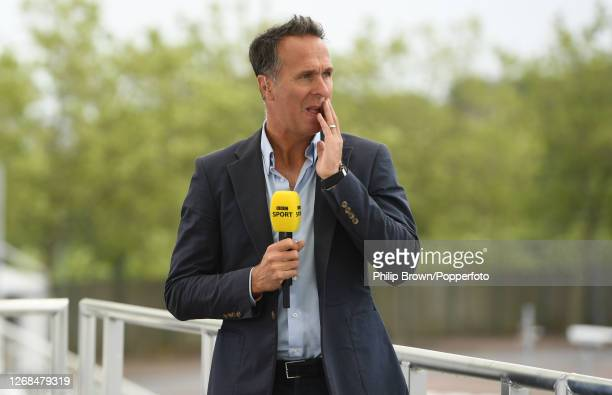 Michael Vaughan of the BBC looks on before play in the third Test match between England and Pakistan at the Ageas Bowl on August 25, 2020 in...