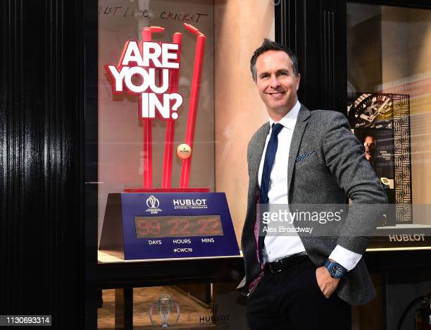 Michael Vaughan poses for a photograph during the ICC Cricket World Cup England & Wales 2019 - Official Timekeeper Hublot and cricket legend Michael...
