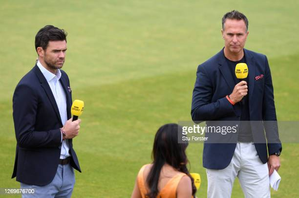 Michael Vaughan talks to James Anderson and Isa Guha whilst broadcasting for the BBC who televise their first live match in 21 years prior to the 2nd...