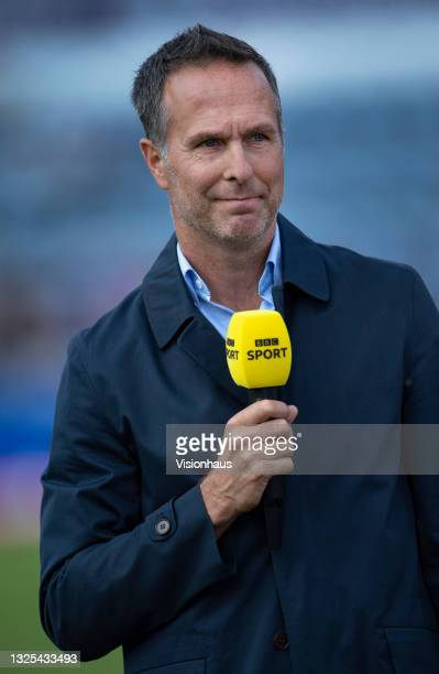 Michael Vaughan works as a pundit on BBC Sport before the 2nd T20I between England and Sri Lanka at Sophia Gardens on June 24, 2021 in Cardiff, Wales.