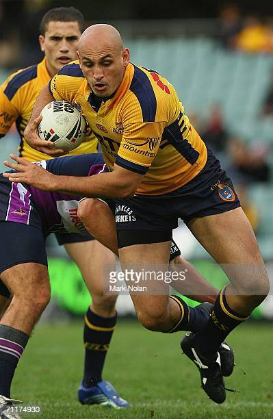 Michael Vella of the Eels in action during the round 14 NRL match between the Parramatta Eels and the Melbourne Storm played at Parramatta Stadium on...