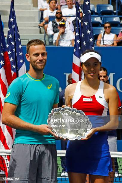 Michael Venus of New Zealand and Chan Hao ching of Taiwan during the Double Mixt finals match on Day Thirteen of the Us Open 2017 at USTA Billie Jean...
