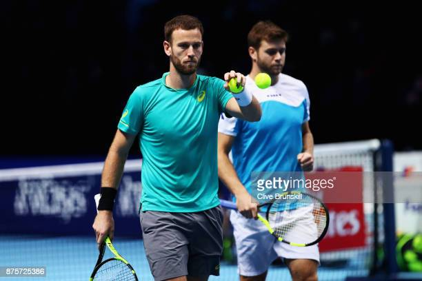 Michael Venus of New Zealand catches a ball in the Doubles Semi Final match against Lukasz Kubot of Poland and Marcelo Melo of Brazil during day...