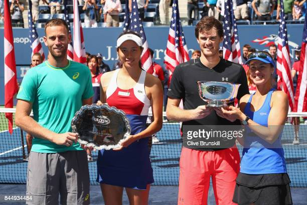Michael Venus of New Zealand HaoChing Chan of Taiwan Jamie Murray of Great Britain and Martina Hingis of Switzerland pose during the trophy...