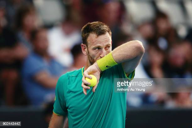 Michael Venus of New Zealand looks on in his first round match against Roberto Bautista Agut of Spain during day one of the ASB Men's Classic at ASB...