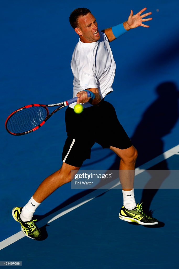 Michael Venus of New Zealand plays a forehand in his singles match against Alejandro Gonzalez of Colombia during day two of the 2015 Heineken Open Classic at Auckland Tennis Centre on January 13, 2015 in Auckland, New Zealand.