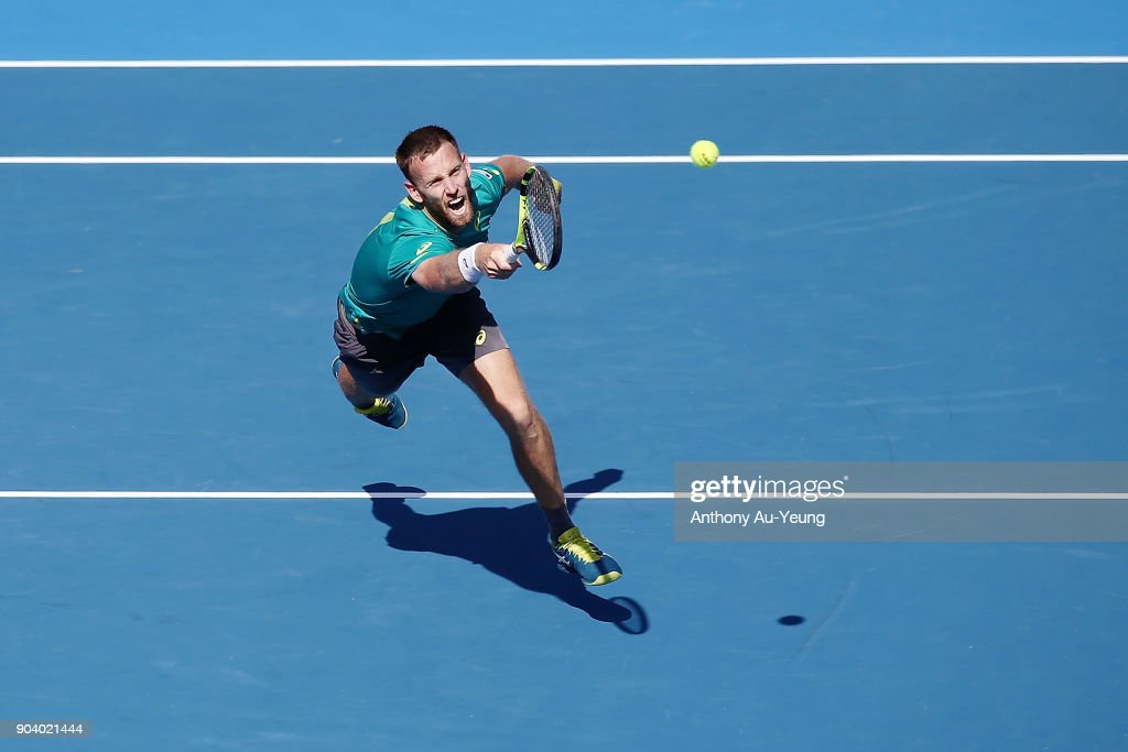 Michael Venus of New Zealand plays a shot with partner and Raven Klaasen of South Africa in their doubles semi final match against Max Mirnyi of Belarus and Philipp Oswald of Austria during day five of the 2018 ASB Men's Classic at the ASB Tennis Centre on January 12, 2018 in Auckland, New Zealand.