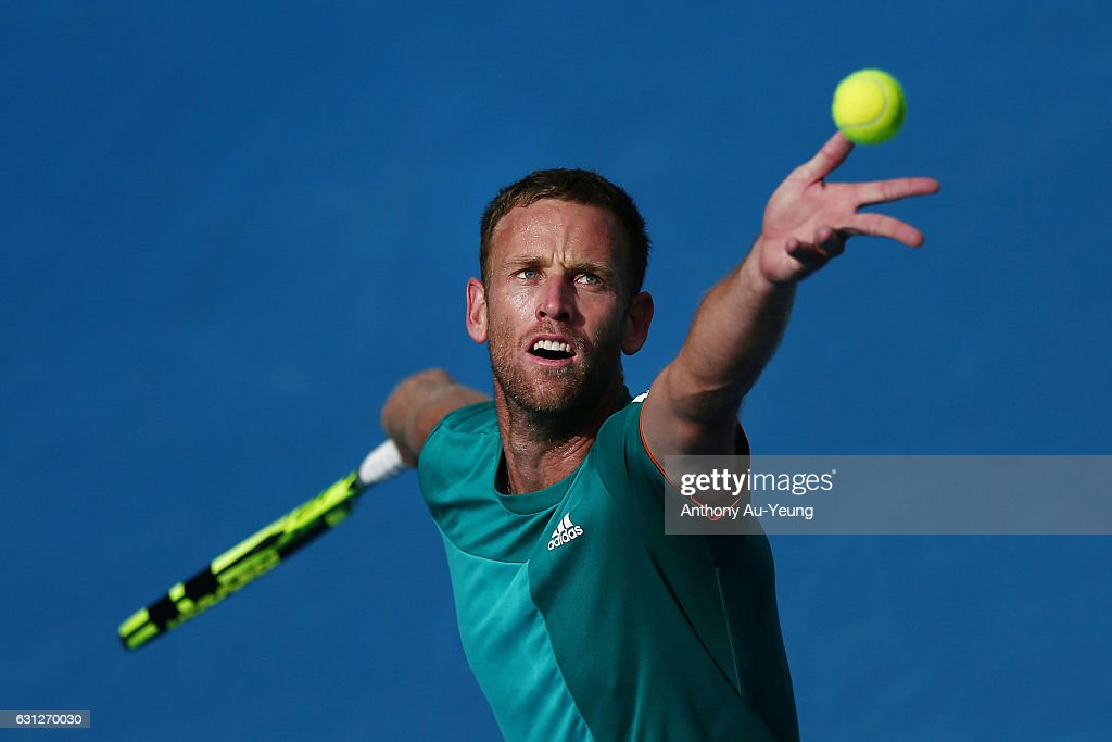 Michael Venus of New Zealand practises ahead of his first round match against Feliciano Lopez of Spain on day eight of the ASB Classic on January 9, 2017 in Auckland, New Zealand.