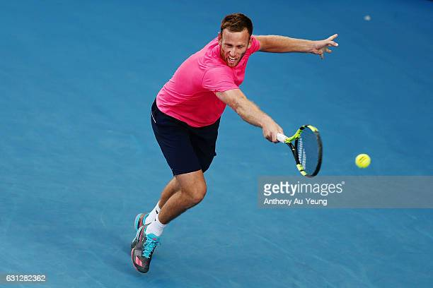 Michael Venus of New Zealand reaches for a backhand in his match against Feliciano Lopez of Spain on day eight of the ASB Classic on January 9 2017...