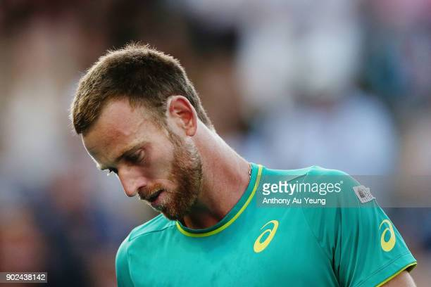 Michael Venus of New Zealand reacts in his first round match against Roberto Bautista Agut of Spain during day one of the ASB Men's Classic at ASB...