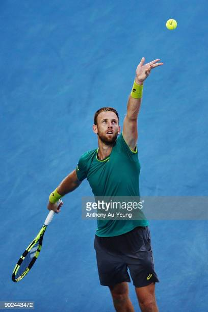 Michael Venus of New Zealand serves in his first round match against Roberto Bautista Agut of Spain during day one of the ASB Men's Classic at ASB...
