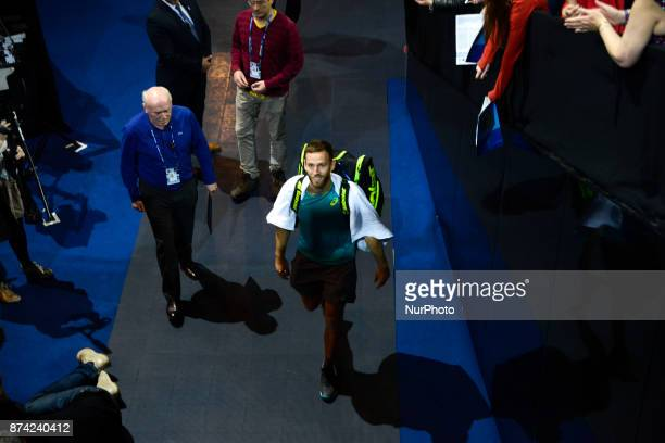Michael Venus of New Zeland makes his way out the court after his Doubles match during Nitto ATP World Tour Finals at the O2 Arena London on...