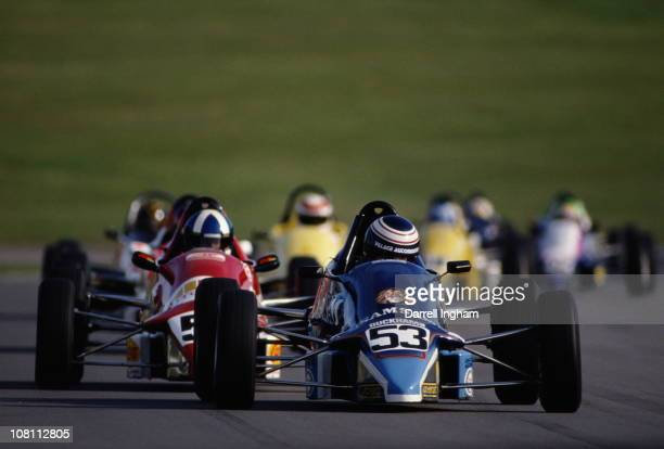 Michael Vergers drives the Samsan Van Diemen Scholar RF89 ahead of David Coulthard driving the Autoglass Van Diemen Scholar RF89 during the Formula...
