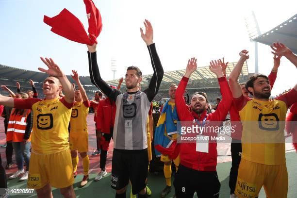 Michael Verrips of Mechelen and Onur Kaya of Mechelen celebrate after winning the Croky Cup Final match between Kaa Gent and Kv Mechelen at King...