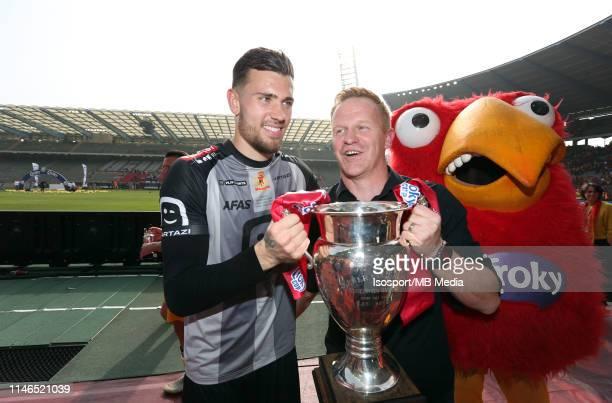 Michael Verrips of Mechelen and Wouter Vrancken, head coach of Mechelen, celebrate after winning the Croky Cup Final match between Kaa Gent and Kv...