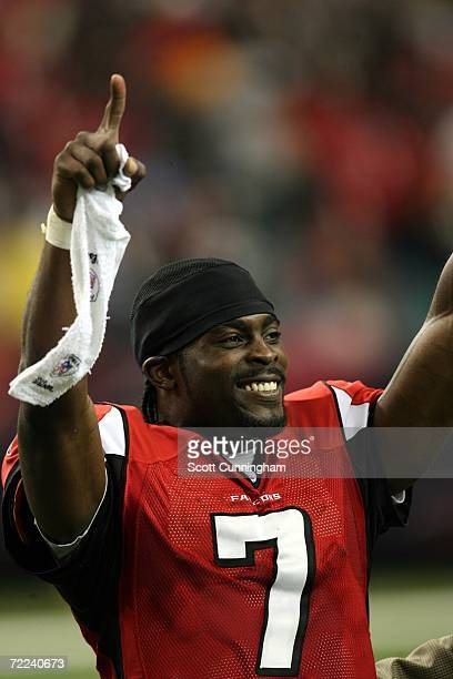 Michael Vick of the Atlanta Falcons celebrates after the game against the Pittsburgh Steelers at the Georgia Dome on October 22, 2006 in Atlanta,...