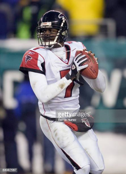 Michael Vick of the Atlanta Falcons passes against the Philadelphia Eagles during the NFC Championship game at Lincoln Financial Field on January 23,...